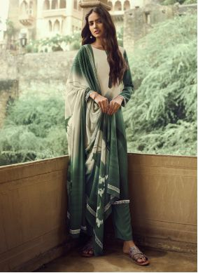 Printed Faux Crepe Cream And Green Salwar Suit