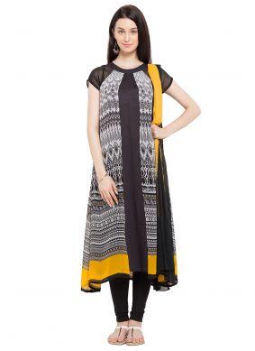 Printed Faux Georgette Black Readymade Churidar Salwar Suit