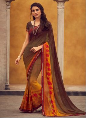 Brown Printed Georgette Trendy Saree