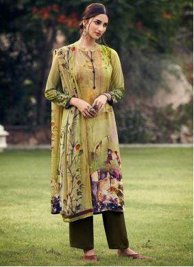 Printed Green Faux Crepe Palazzo Suit