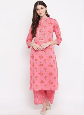 Printed Hot Pink Cotton Party Wear Kurti