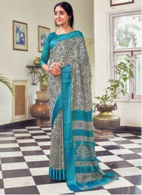 Printed Multi Colour Cotton Traditional Saree