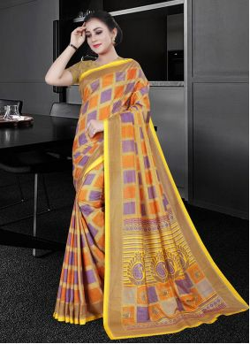 Multi Colour Printed Party Printed Saree