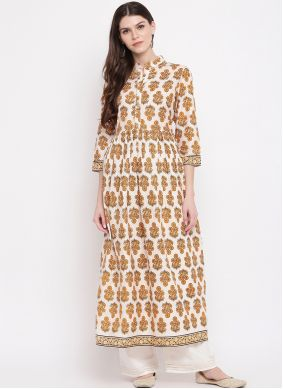 Off White Printed Party Wear Kurti
