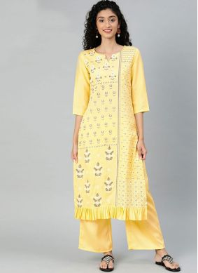 Printed Poly Silk Casual Kurti