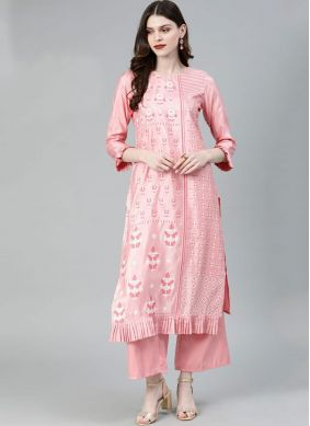 Printed Poly Silk Casual Kurti in Rose Pink