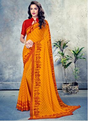 Mustard Printed Saree For Festival
