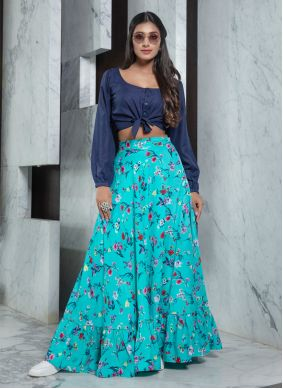 Printed Blue Rayon Bollywood Lehenga Choli