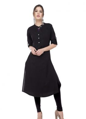 Printed Rayon Designer Kurti in Black
