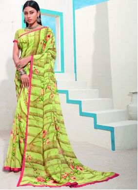 Faux Georgette Saree Abstract Printed in Green