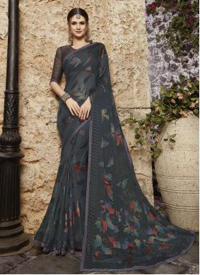 Printed Saree Abstract Print  Tissue Brasso in Grey
