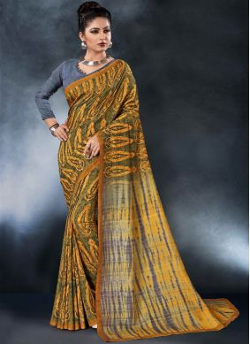 Printed Saree Digital Print Tussar Silk in Multi Colour