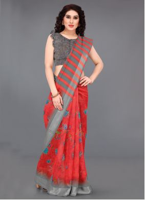 Red Printed Saree For Casual