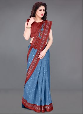 Blue Printed Saree For Casual