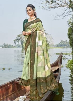 Green Printed Saree For Casual