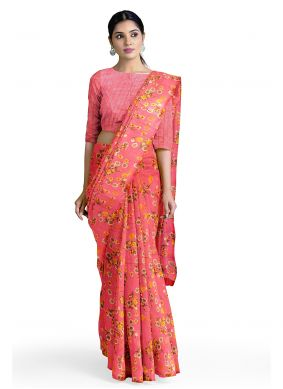 Pink Printed Saree For Casual