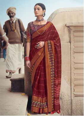 Maroon Printed Saree For Festival