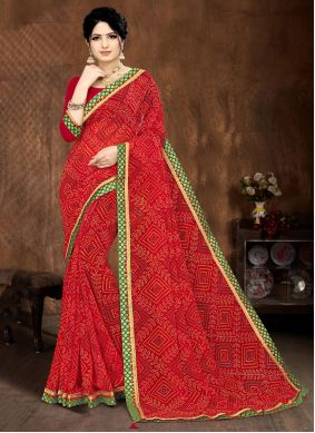 Printed Saree Lace Faux Georgette in Red