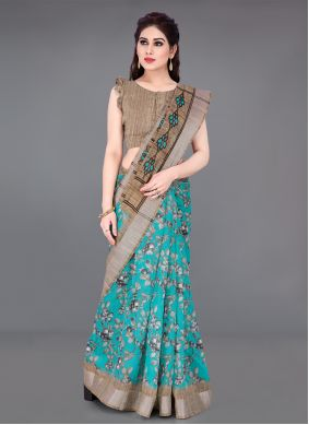 Printed Saree Printed Cotton in Beige and Turquoise