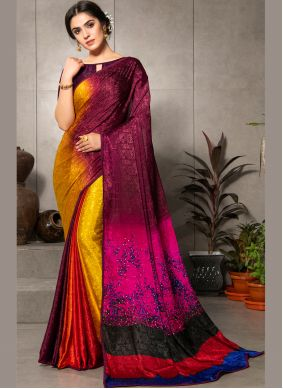 Printed Saree Faux Crepe in Multi Colour