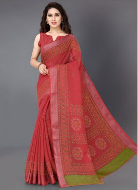 Printed Saree Linen in Red