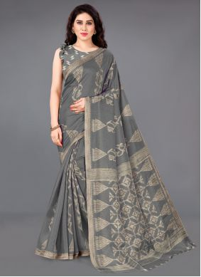 Printed Silk Grey Casual Saree