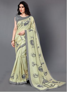 Printed Silk Traditional Saree in Beige