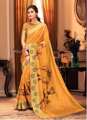 Printed Silk Yellow Traditional Saree
