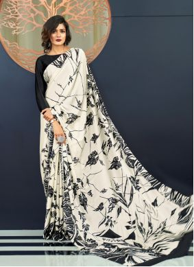 White Printed Traditional Saree