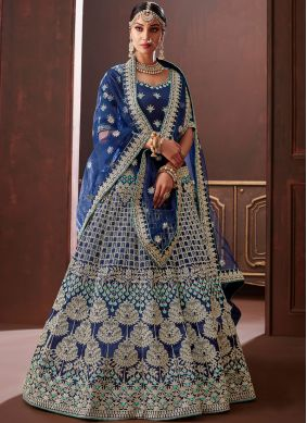 Pristine Embroidered Silk Blue Designer Lehenga Choli