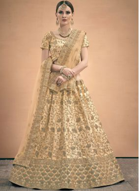 Pristine Satin Thread Work A Line Lehenga Choli