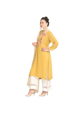 Prodigious Mustard Wedding Party Wear Kurti