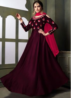 Prodigious Tafeta Silk Embroidered Designer Gown