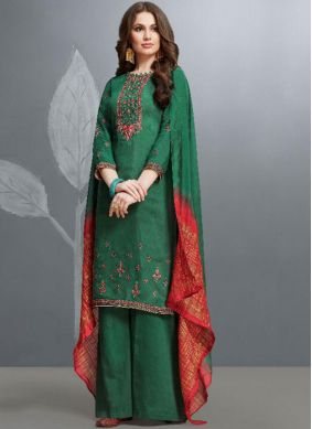 Prominent Cotton Embroidered Green Designer Palazzo Suit
