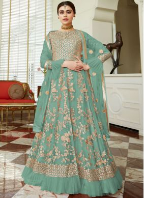 Prominent Embroidered Net Sea Green Lehenga Choli