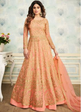 Prominent Embroidered Peach Shamita Shetty Trendy Lehenga Choli
