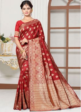 Prominent Red Art Silk Designer Traditional Saree