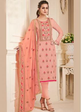 Prominent Resham Peach Churidar Designer Suit