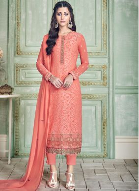 Pure Georgette Pant Style Suit in Peach