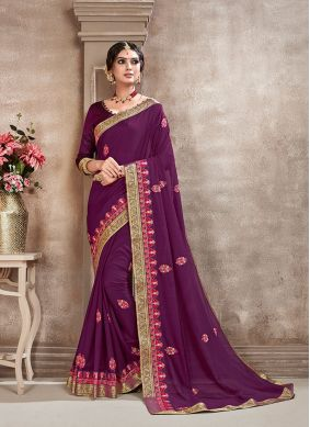 Purple Aari Mehndi Silk Saree