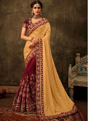 Purple and Yellow Poly Silk Ceremonial Half N Half Trendy Saree