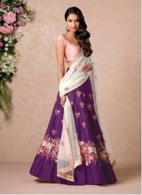 Purple Art Silk A Line Lehenga Choli