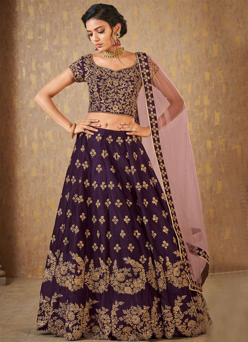 Purple Banarasi Silk Embroidered Designer Lehenga Choli