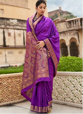 Purple Banarasi Silk Weaving Classic Saree