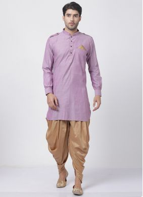 Purple Blended Cotton Ceremonial Dhoti Kurta