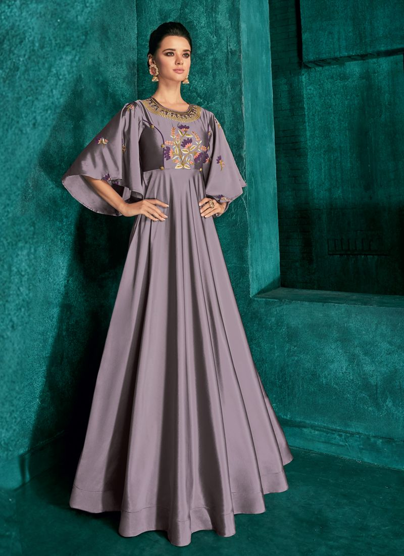 Purple Color Readymade Gown