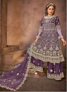Purple Embroidered Ceremonial Designer Pakistani Suit