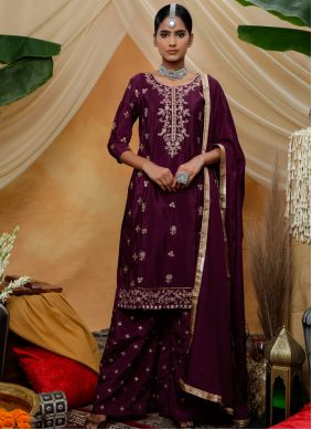 Purple Embroidered Designer Palazzo Salwar Kameez