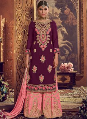 Purple Embroidered Faux Georgette Palazzo Salwar Suit
