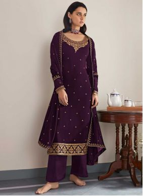 Purple Embroidered Party Designer Palazzo Salwar Suit